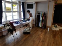 Clothing Exchange 2018 Susan Merrick - A clothing exchange set up for both SERIES OF EVENTS 2018. Participants/audience were invited to exchange something for a piece of clothing. The 'something' could be anything from clothes, to a song, to a piece of information.