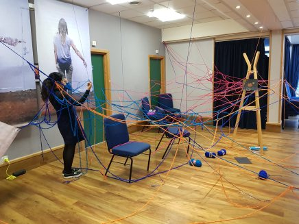 Unfinished 2018 Barbara Touati-Evans, Susan Merrick and Audience - A growing and changing installation created for the space at Princes Hall, Aldershot.
